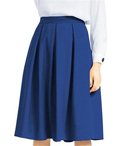 Aoliait Femme Jupe Swing Grande Taille Jupe Mi Longue Taille Haute Jupe Plisse Couleur Unie Jupe A-Line Slim Fit Skirt ElGant Jupe Blue