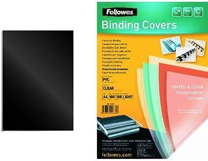Fellowes - Pack 100 unidades portadas de encuadernacion, formato A4, negro + 100 unidades portadas de encuadernacion, formato A4, transparente: Amazon.es: Oficina y papelería