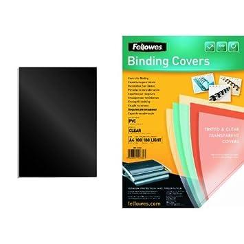 Fellowes - Pack 100 unidades portadas de encuadernacion, formato A4, negro + 100 unidades portadas de encuadernacion, formato A4, transparente: Amazon.es: ...