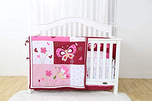 AH. Home Golden Linen 4 Piece Crib Bedding Sets for Girls and Boys, Set Includes (1 Fitted Sheet, 1 Crib Bumper, 1 Crib Skirt, 1 Reversible Quilt) (Pink/Butterfly)