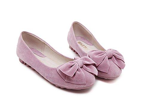 ... Aisun Damen Modisch Flach Rund Zehe Schleifen Nubukleder Ballerinas  Schuhe Rosa ...