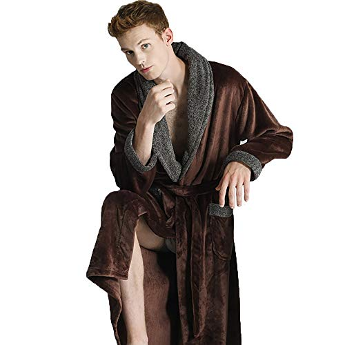 (BMM- Nightgowns Men's Pajamas Bathrobe Comfortable Soft Plush Coral Fleece Flannel Warm Padded Home Service Long Sleeve Casual (Color : Brown, Size : L))