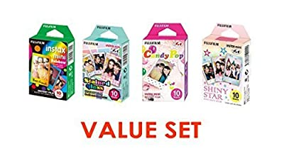 Fujifilm InstaX Mini Instant Film Rainbow & Staind Glass & Candy Pop & SHINY STAR Film -10 Sheets X 4 Assort Value Set by Fujifilm