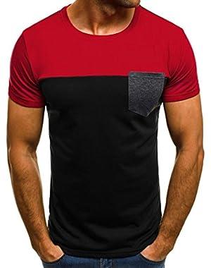 Big Promotion! T-Shirt Men Blouse Top Muscle Slim Casual Fit Short Sleeve Patchwork Pocket