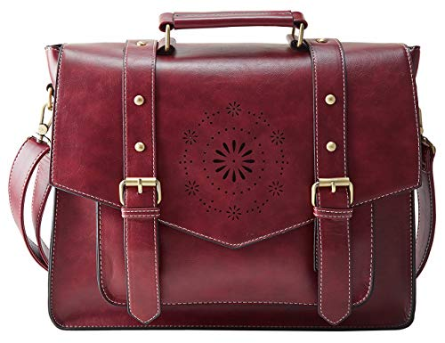 (ECOSUSI Women's PU Leather Laptop Bag Tote Messenger Bag Crossbody Briefcase Fit 14