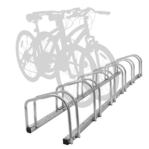 Hromee Bike Floor Parking 1-6 Rack Adjustable Bicycle Storage Organizer Stand for Garage, Silver For Sale