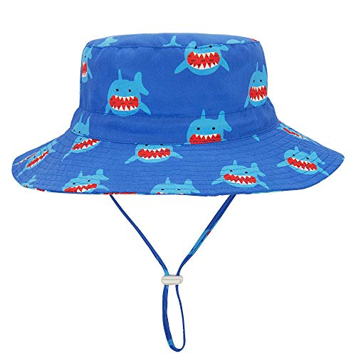 Durio Gift for Baby Toddler Summer Baby Gifts Beach Sun Hat UPF 50+ Baby Hat Kids Toddler Boy Hat A Blue Shark 21.3