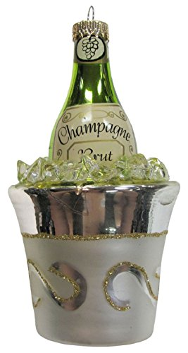 Christmas By Krebs Celebrate with Champagne Bottle Ice Bucket Holiday Ornament (Champagne Ornament Bottle)