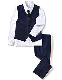 4 Piece Boys' Formal Suit Set Vest Pants Dress Shirt Tie