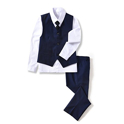 Yuanlu 4 Piece Boys' Suits Set with Vest Shirt Tie and Pants Blue Size 4T