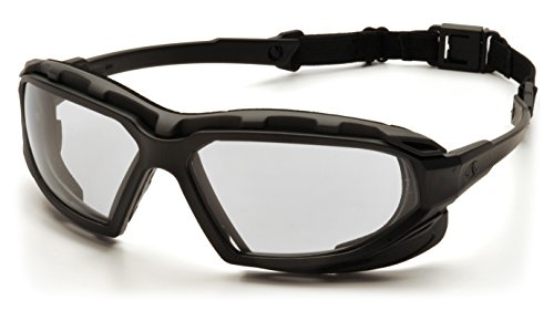 Pyramex Safety Highlander XP Eyewear, Black-Gray Frame/Clear Anti-Fog ()
