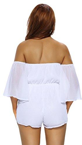 EOZY Femme Casuel Romper Blanc Bustier Jumpsuit Elastic Combinaison Short