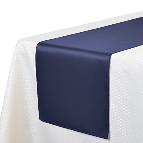 VEEYOO 10 Pieces 12x108 inch Satin Table Runners Linens for Wedding Party Banquet Table Top Decoration, Navy Blue (Navy Blue Table Runners Wedding)