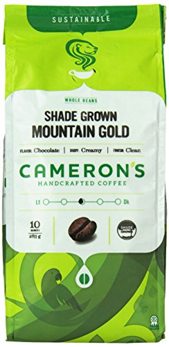 Cameron's Coffee Roasted Whole Bean Coffee, Organic Mountain Gold Blend, 10 Ounce