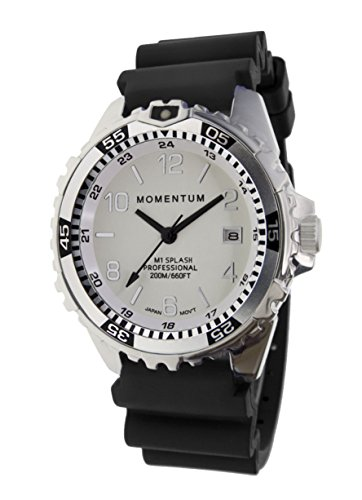 Momentum Women's Stainless Steel Japanese-Quartz Diving Watch with Rubber Strap, Black, 18 (Model: 1M-DN11WS1B)