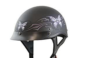 VCAN V531 Cruiser Intricate Butterfly Flat Black Small Half Helmet