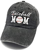 Waldeal Embroidered Unstructured Baseball Mom Vintage Jeans Adjustable Ballcap Cotton Denim Dad Hat Gift for Mom/Grandma Black