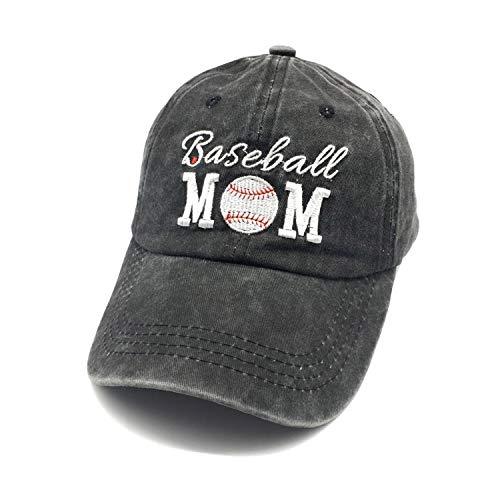 Waldeal Embroidered Unstructured Baseball Mom Vintage Jeans Adjustable Ballcap Cotton Denim Dad Hat Gift for Mom/Grandma Black