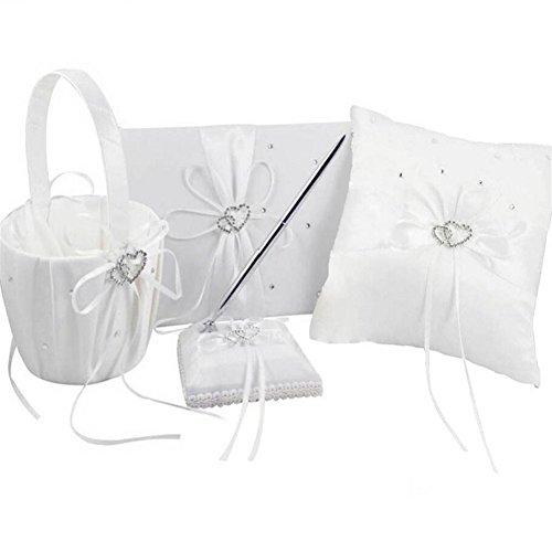 Guest Ribbon Wedding Book (Youzpin 4Pcs Romantic Wedding Ceremony Party Favor Sets, Rhinestone Stain Ribbon Wedding Ring Pillow+ Girls Flower Basket +Guest Book + Pen for Elegant Wedding Party)