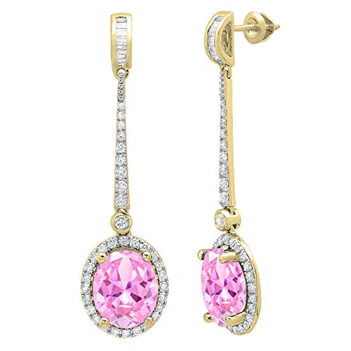 (Dazzlingrock Collection 10K Each 11X9 MM Oval Lab Created Pink Sapphire And Round & Baguette Diamond Ladies Dangling Earrings, Yellow Gold)