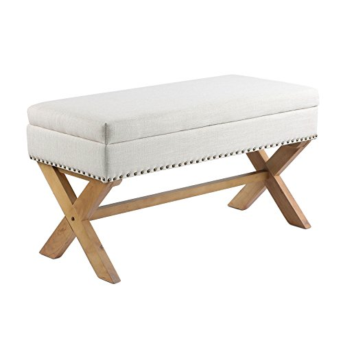 (CO-Z Antique Drexler Storage Bench Ottoman Natural Linen Fabric with X-shape Leg & Brass Nailhead (Light Sand))