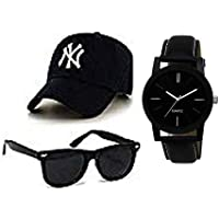 sba prime New Black Cap,Watch & Sunglasses For Men & Boys.(Combo)
