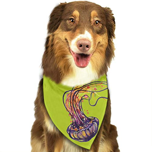 TNIJWMG Cool Jellyfish Art Bandana Triangle Bibs Scarfs Accessories for Pet Cats and Puppies]()