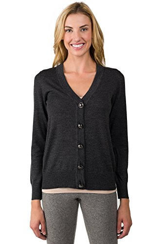 JENNIE LIU Women's 100% Merino Wool Long Sleeve V Neck Button Cardigan Sweater Charcoal Medium