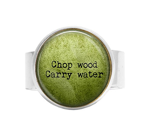 stap Zen QuoteChop Wood Carry Water adjustable ring - Buddha Quote Jewelry - Spiritual Jewelry - Buddha adjustable ring - Meaning of Life ()