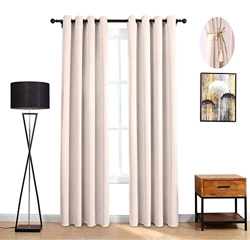 LOFT store Cream Blackout Curtains, 84 Inch Long Essential Darkening Thermal Insulated Curtains for Living Room/Bedroom Blackout Window Drapes (Cream,2 Panels,52Wx84L)