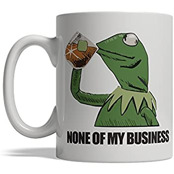BijouLand Coffee Mug Frog Drinking Tea That's None of My Business Funny Ceramic Mug 11 oz Made in USA Fast Shipping