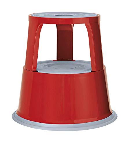 Wedo 212102 Taburete con Ruedas de Metal, Rojo