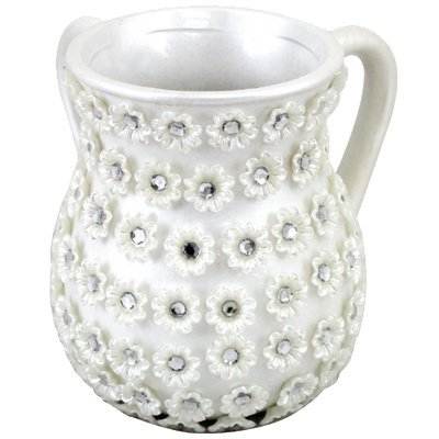 Washing Ceramic Cup (A&M Judaica 50951 Ceramic Washing Cup with Flowers44; 6 in.)