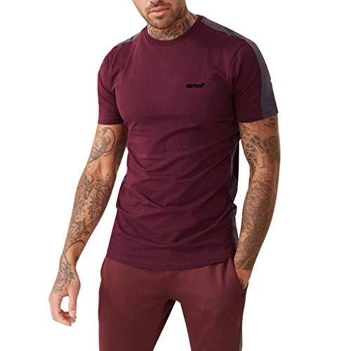 Houshelp Men's Short Sleeve Quick-Dry Athletic-fit Run T-Shirt Sport Wine