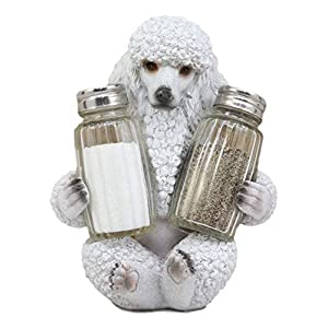 """Ebros Realistic Groomed White French Poodle Puppy Dog Glass Salt And Pepper Shakers Holder Figurine 6.25""""Tall Whimsical Hugging Poodles Pet Memorial Animal Dogs Decor Statue 3"""
