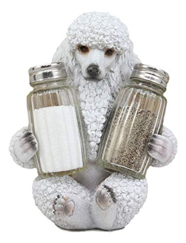 "Ebros Realistic Groomed White French Poodle Puppy Dog Glass Salt And Pepper Shakers Holder Figurine 6.25""Tall Whimsical Hugging Poodles Pet Memorial Animal Dogs Decor Statue"