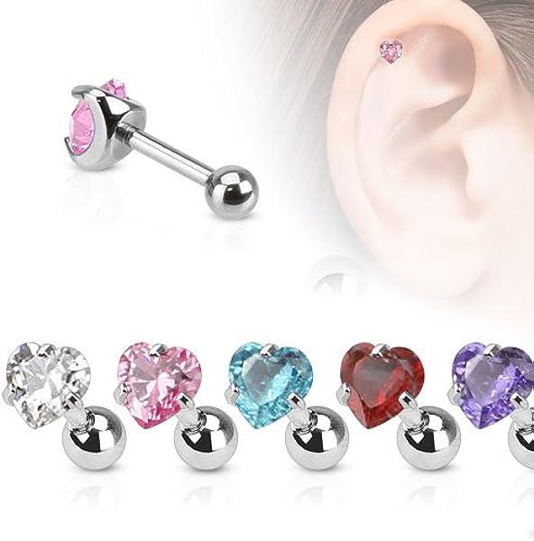 Tragus Cartilage Piercing Ohr Schmuck Helix Stud Stecker Herz mit Kristallen