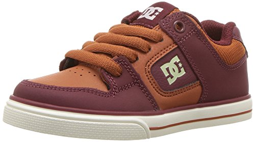 DC Pure Elastic Skate Shoe, Red, 2 M US Little Kid ()
