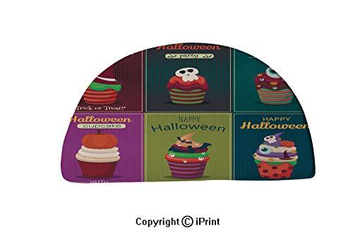 LEFEDZYLJHGO Customized Half Moon Rug for Bathroom Half Circle Rug,24x16 inch,Cupcake Vector Set Happy Halloween Scary Sweets Poster