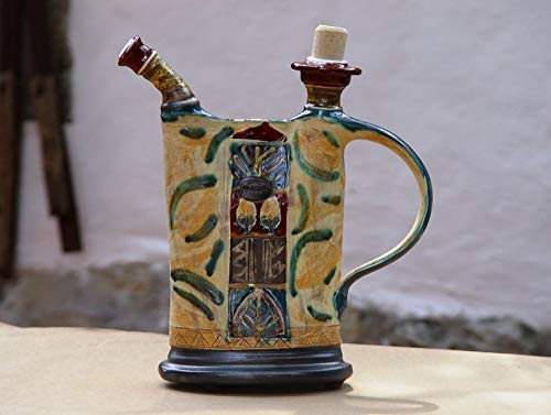 Clay Pitcher, Pottery Jug, Colorful Ceramic Bottle, Pottery Handmade, Decorative Teapot, Water Jug, Ceramics and Pottery, Danko