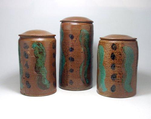Pottery Kitchen Storage Jar Set of Five Stoneware Covered Jars