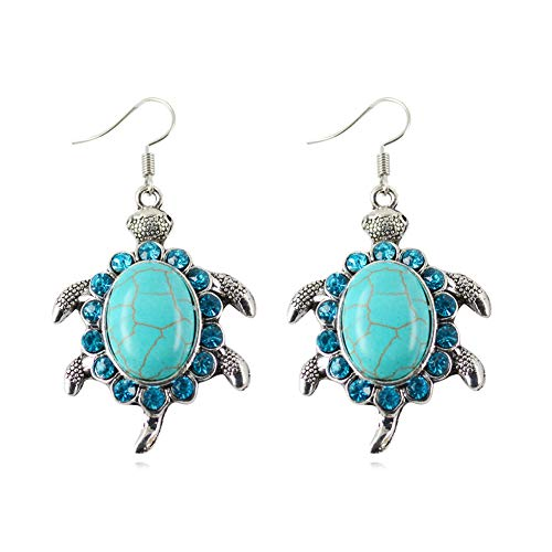 JczR.Y Vintage Ethnic Turquoise Turtle Dangle Hook Earrings Bohemian Retro Sea Animal Tortoise Oval Gemstone Bead Drop Earrings for Women (B:Earrings)