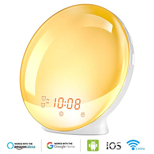 (Wake Up Light Alarm Clock, Burbupps Kids Night Light Compatible with Alexa & Google Home, 7 Colored Sunrise Simulation and Sunset Fading, Dual Alarm Clock with FM Radio, USB Charge Port)