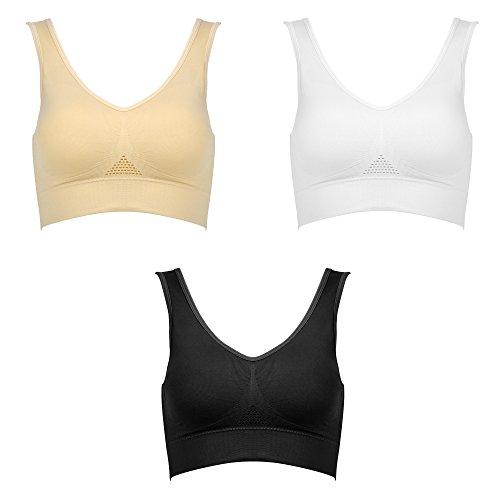 ZLYC Women's Teens Light Support Wireless Sports Bra Yoga Bra Seamless Scoop-Back (XXL, 3 Pack (Black,White, Nude))