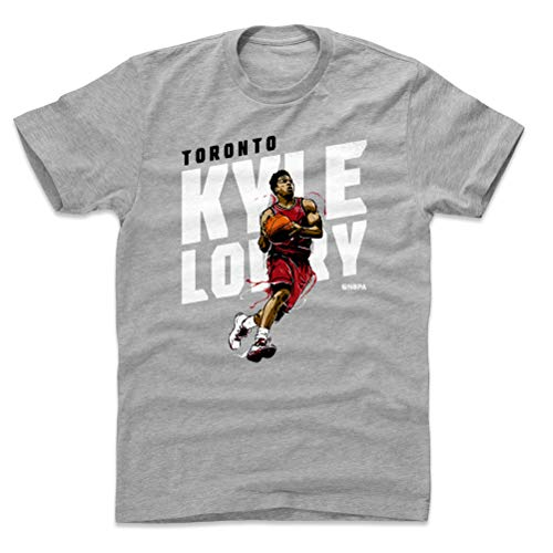 500 LEVEL Kyle Lowry Cotton Shirt Large Heather Gray - Vintage Toronto Basketball Men's Apparel - Kyle Lowry Slant W WHT