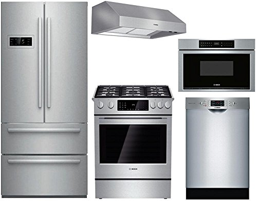 "Bosch 5-Piece Stainless Steel Kitchen Package with B21CL80SNS 36"" French Door Refrigerator, HDI8054U 30"" Dual Fuel Range, DPH30652UC 30"" Under Cabinet Hood, SGE68U55UC 24"" Dishwasher, and HMD8053UC 30"