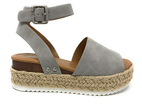 Sandals Big Buckle - Womens Topic4 Casual Espadrilles Trim Rubber Sole Flatform Studded Wedge Buckle Ankle Strap Open Toe Sandal (8.5 M US, Grey T)