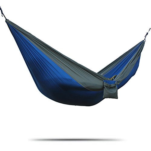 AZSPORT Double Parachute Nylon Hammock, Compact and Lightweight, Ideal for Travel, Tree Straps Included, Blue and...
