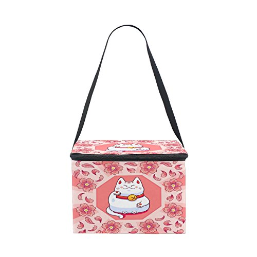 ALAZA Lucky Cat Cherry Blossom Insulated Lunch Bag Box Cooler Bag Reusable Tote Bag Outdoor Travel Picnic Bag With Shoulder Strap (Lucky Cherry)