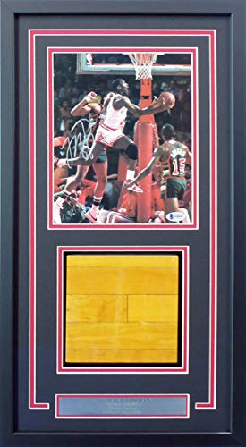 - Michael Jordan Autographed Framed 8x10 Magazine Page Photo With Chicago Bulls Game Used Hardwood Floor Piece Graded 10 Beckett BAS #A60444